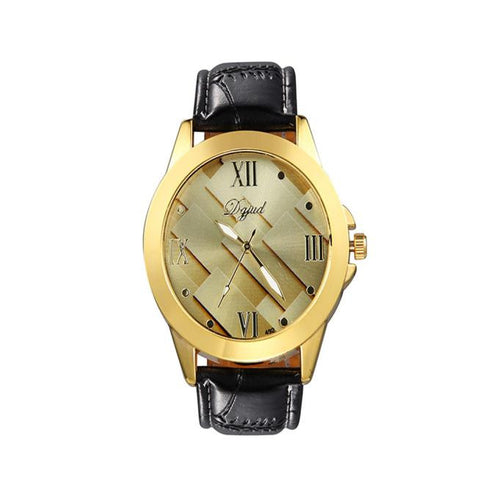 elegant oval shape case leather strap wrist watch for men