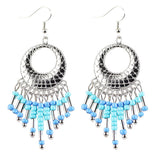 ethnic long beads tassel dangle drop earrings for women