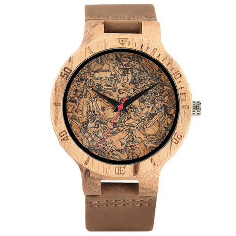 trendy minimal design dial wooden case leather wrist watch for men