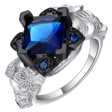 vintage royal blue crystal flower shape silver color ring for women