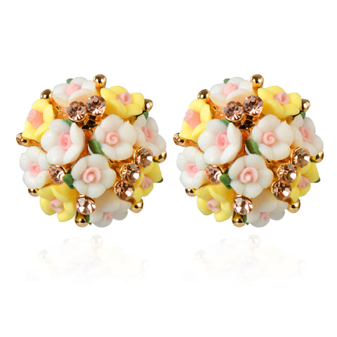 romantic round crystal flowers shape stud earrings for women