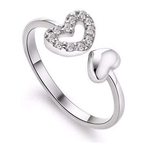 silver plated austrian crystal hearts open ring for women