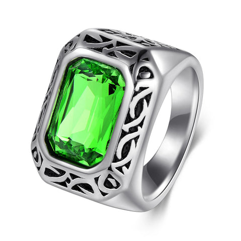 cool big green cz crystal stone titanium steel ring for men