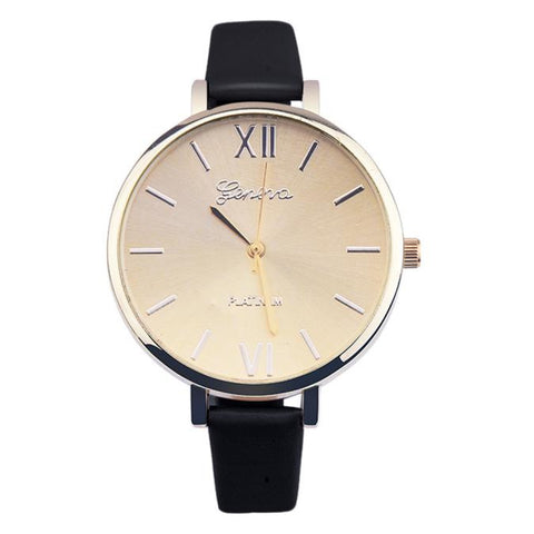 elegant leather band analog quartz wrist watch for women