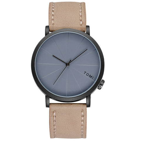 trendy minimal dial design leather band wrist watch