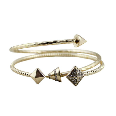punk style gold color geometric bangle bracelet set for women