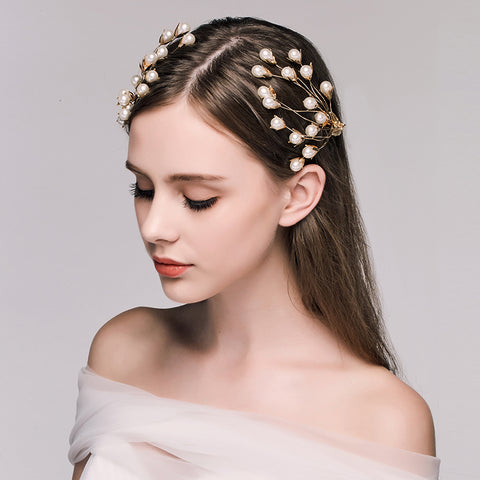 2 pcs simulated pearl branch shape hair pins for women