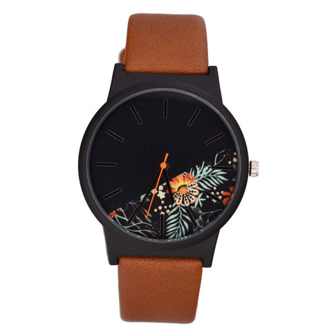 trendy flower pattern leather band quartz watch for women