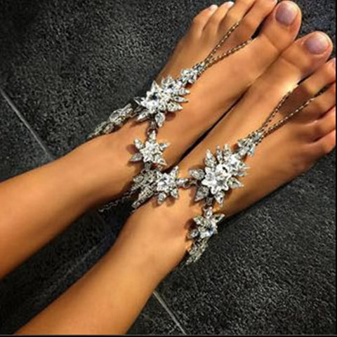 luxury colorful crystal toe chain anklet for women