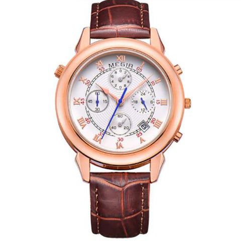 elegant chronograph dial genuine leather quartz watch for men