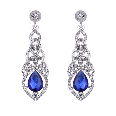 elegant teardrop shape zircon long drop earrings for women