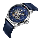 luxury automatic mechanical leather band wrist watch for men