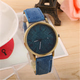trendy denim pattern dial leather band wrist watch