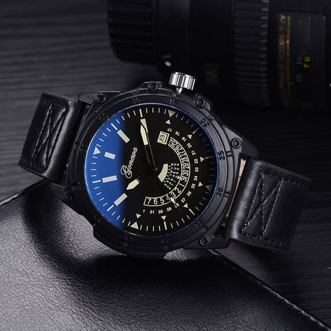 sport style analog quartz date dial wrist watch for men