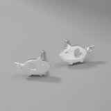 cute tiny sterling silver pig with heart stud earrings for women