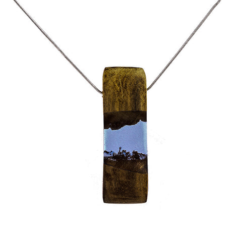 trendy wood & resin pendant necklace for women