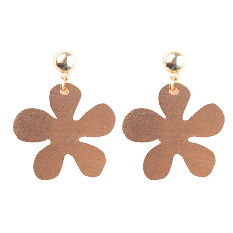 simple design flower shape drop earrings for women