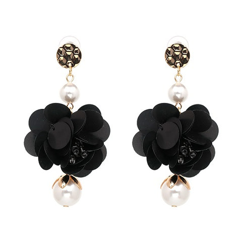 trendy flower shape simulated pearl drop earrings for women