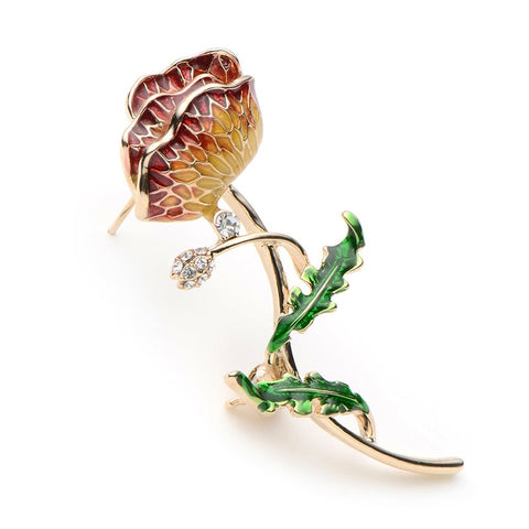 romantic enamel rose flower with rhinestone brooch pin for women