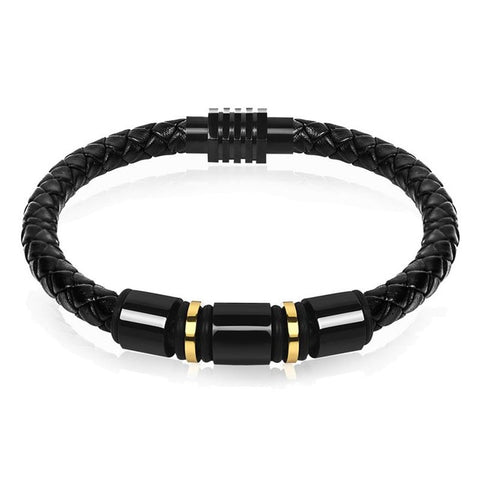 punk leather & stainless steel beads charm bracelet for men