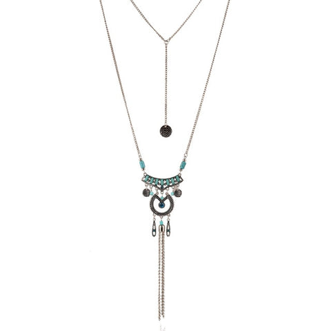 ethnic silver color tassel pendant & necklace for women