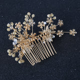 vintage pearl & crystal flower shape hair comb for women