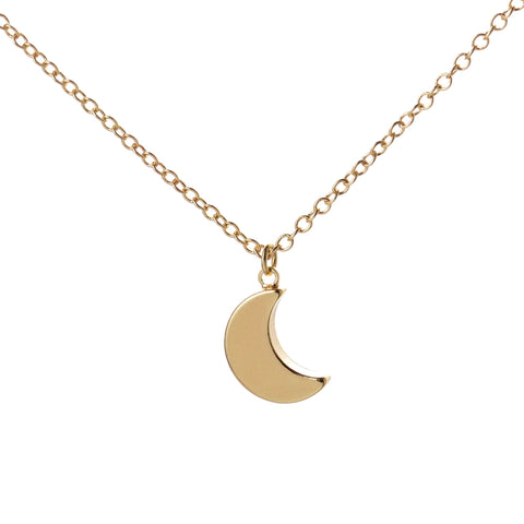 gold/silver color minimalist half moon pendant chain necklace