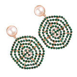 bohemian colorful beads & simulated pearl earrings for women