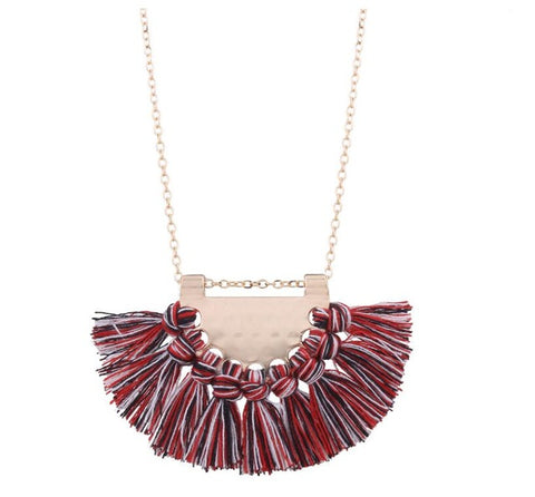 bohemian cotton tassel pendant necklace for women