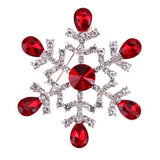 trendy snow flake shape crystal enamel brooch pin for women