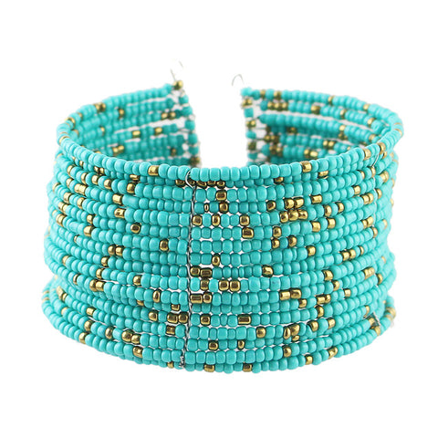 ethnic colorful beads multilayer open cuff bracelet for women
