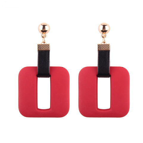 trendy rectangle resin drop dangle earrings for women