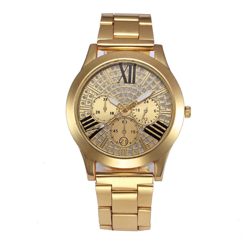 luxury pave crystal dial stainless steel band wrist watch for women