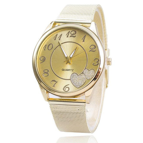 elegant heart pattern golden mesh band watch for women