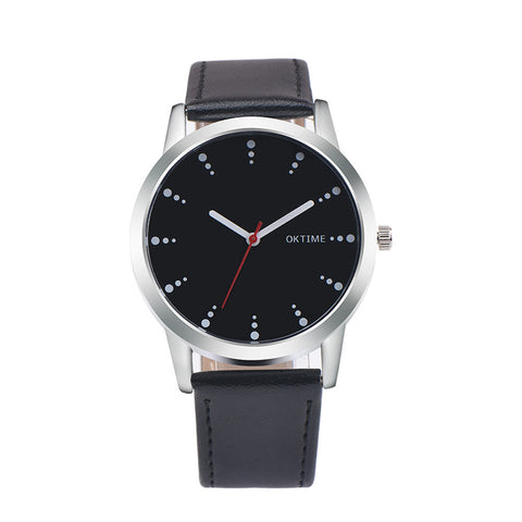 trendy minimal dots pattern leather band quartz watch for men