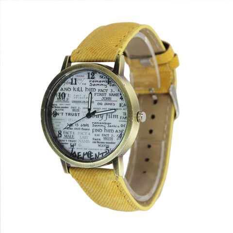 trendy newspaper pattern leather band quartz wrist watch for women