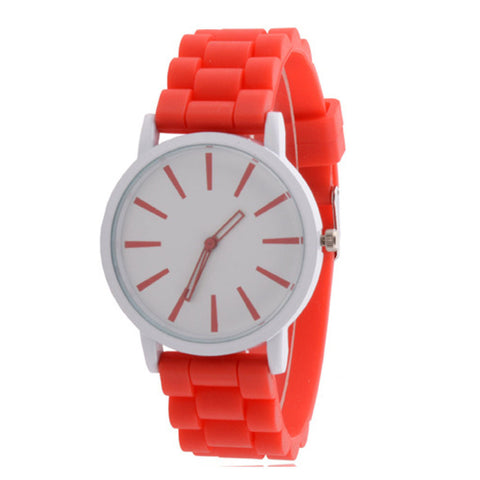 trendy silicone band quartz analog wrist watch for women