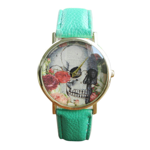 cool skull pattern leather band analog quartz watch for women