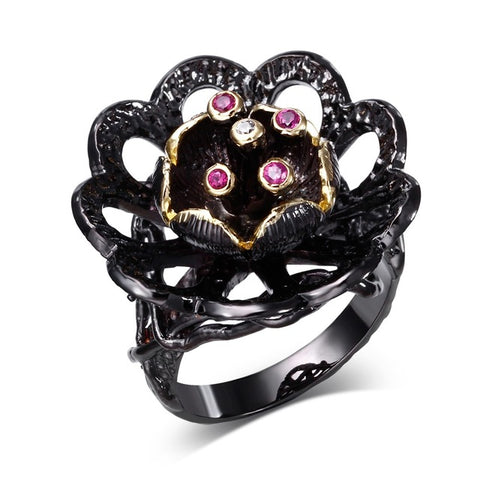 unique black gold color cz crystal lotus flower ring for women