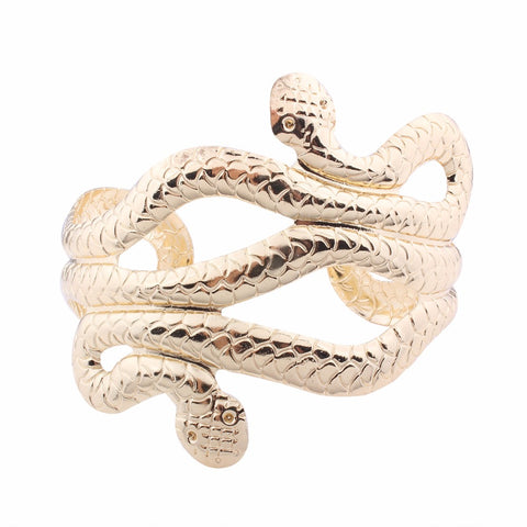 punk gold color snake shape open cuff bracelet for women