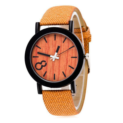 trendy wooden pattern denim strap quartz wrist watch