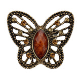 vintage antique brass &crystal butterfly brooch pin for women