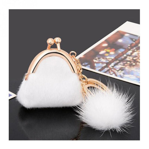 cute furry tiny handbag & pompom key chain for women