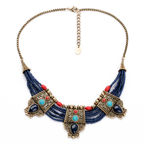 ethnic chunky tribal beads statement necklace for women