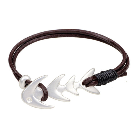 cool silver color fish bone charm leather bracelet for men