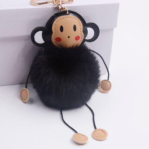 cute fluffy monkey shape pompom key chain for women