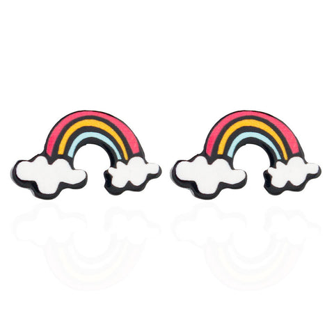 cute mini rainbow shape stud earrings for women