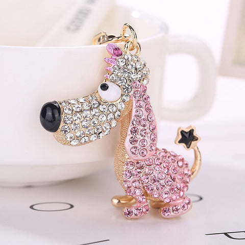 cute crystal dog key chain bag charm for women