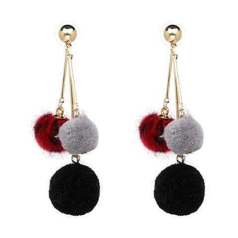 cute cotton pom pom tassel drop earrings for women