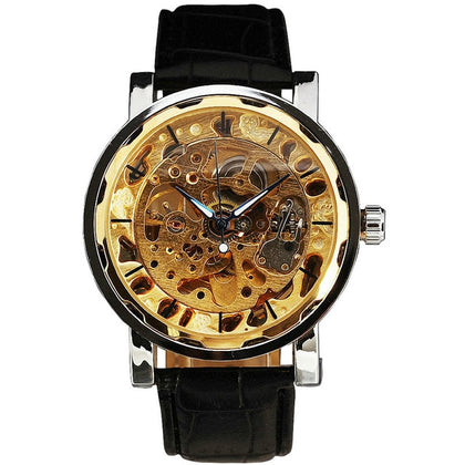 elegant automatic mechanical transparent case wrist watch for men